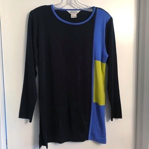 Exclusively Misook Colorblock Long Knit Top Size S
